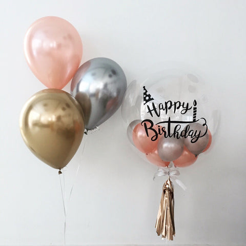24 Basic Chrome Bubble Balloon Bouquet
