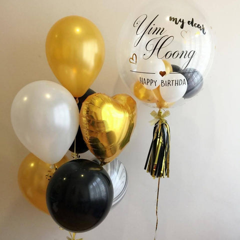 "Gold Black 24"" Bubble Balloon Set"