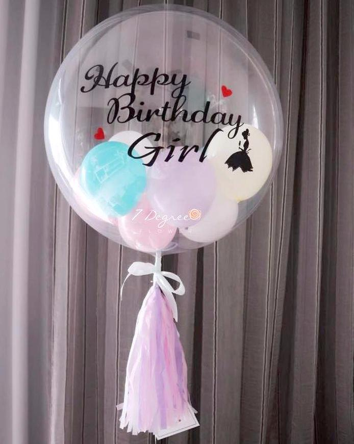 """Happy Birthday"" Single Pastel Bubble Balloon"