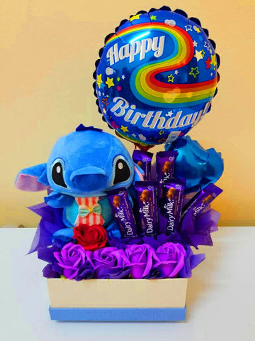 Stitch Birthday Chocolate Box with Soap Roses