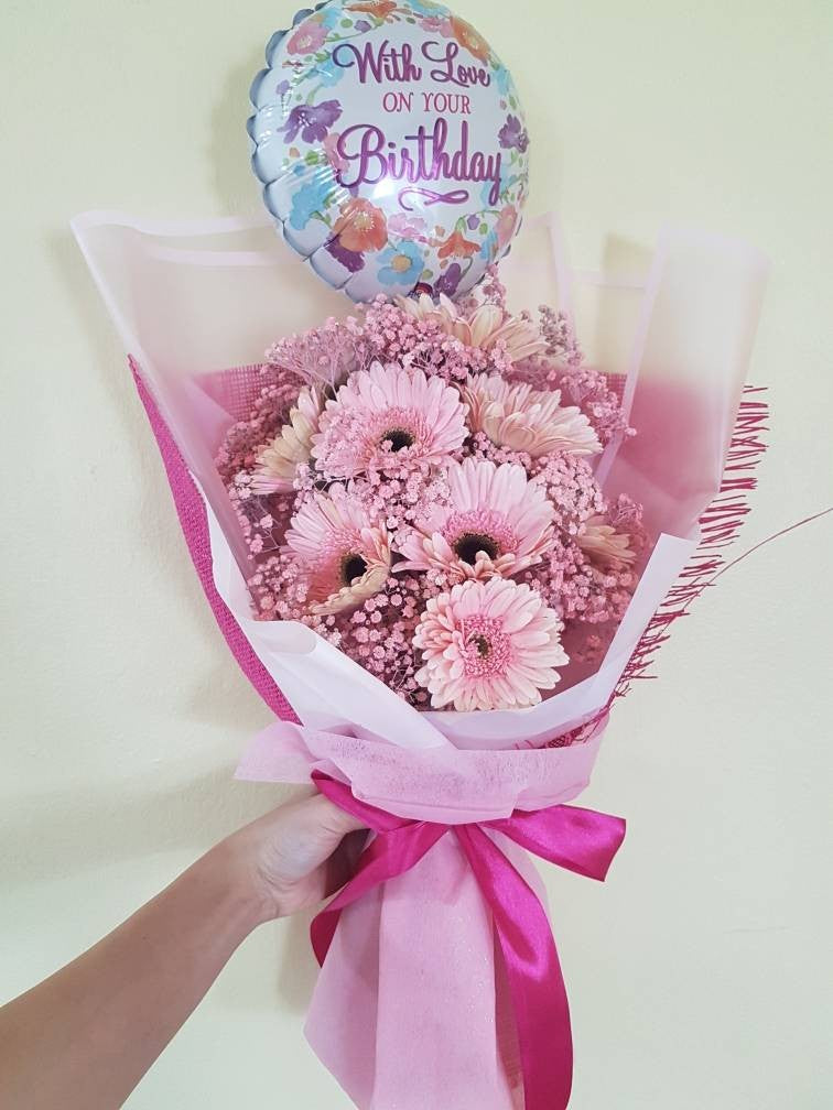 Pinky Gerberas with Baby Breath Bouquet