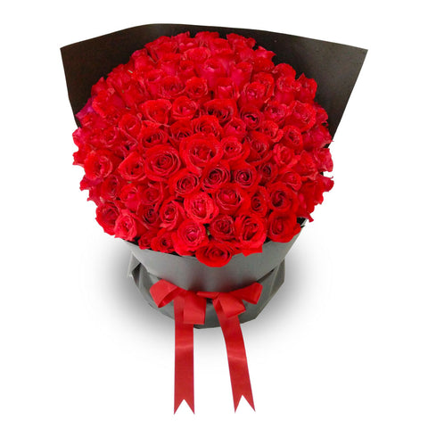 Pure Bliss Grand Red Roses Bouquet (Johor Bahru Delivery)