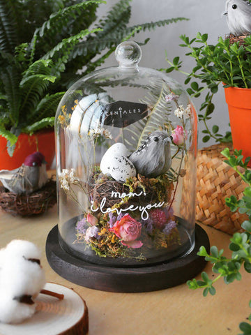 Bird Song Dried Flower Bell Jar