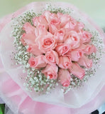 Baby Pink Roses Bouquet with Baby Breath