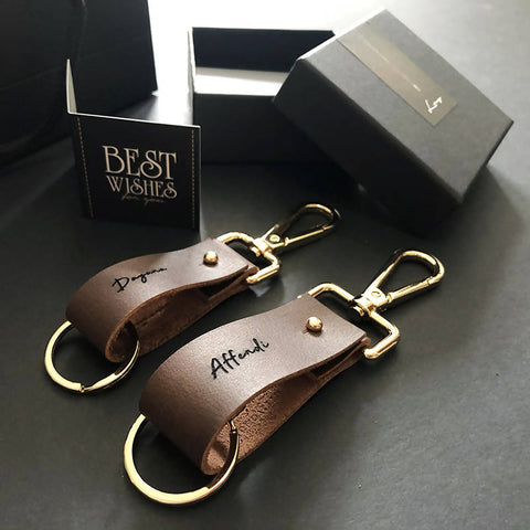 Leather Stylish Couple Keychain Set