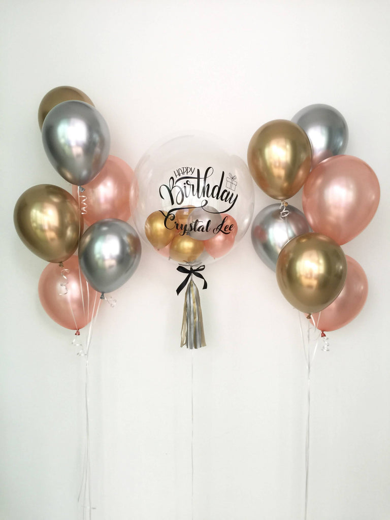 Ultimate Chrome & Rose Gold Balloon Bouquet