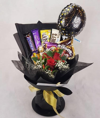 Roses Mixed Chocolates Bouquet with Foil Balloon