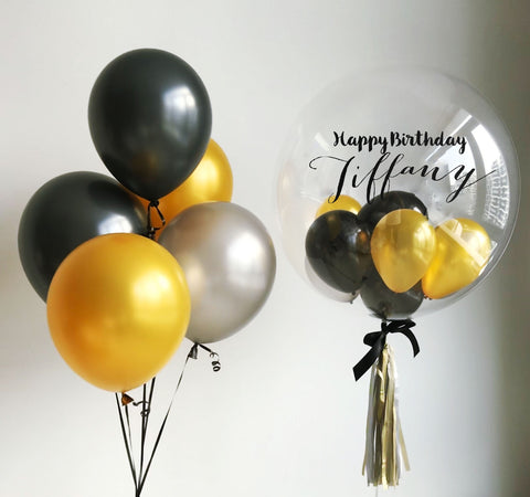 "Gold, Black & Silver 24"" Bubble Balloon Bouquet"