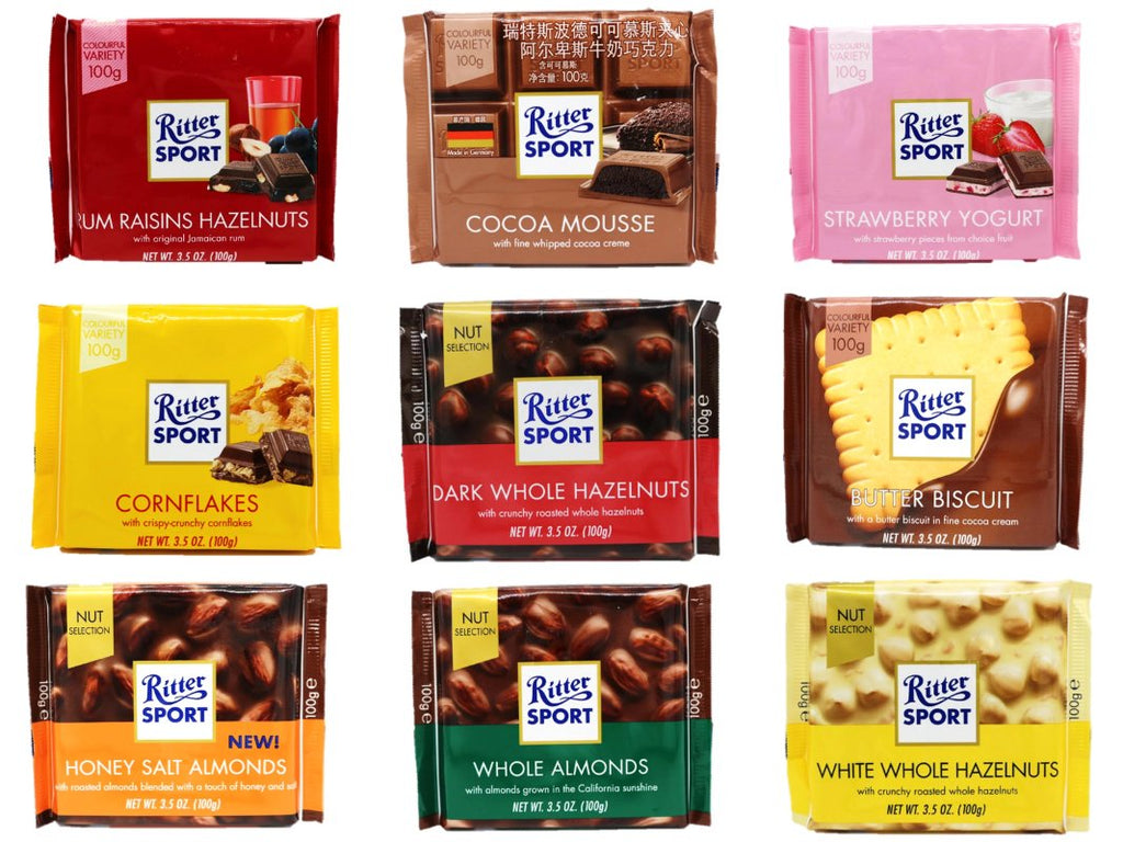 Ritter Sport Assorted Flavours 6 X 100g Made In Germany