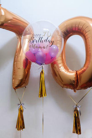 Personalised 'Happy Birthday' Bubble Balloon with Foil Alphabet/Digit Set