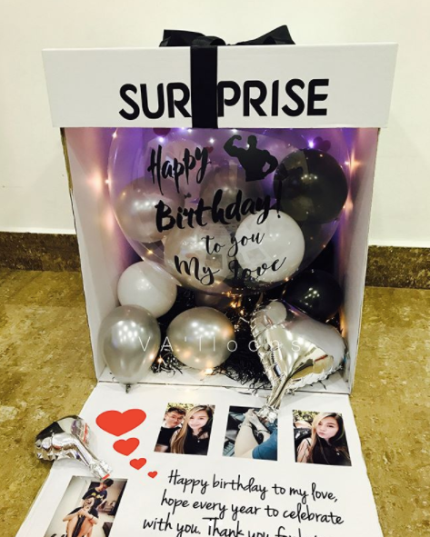 Happy Birthday Surprise LED Balloon Box