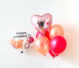 "Rose Gold & Fushcia 24"" Bubble Balloon Bouquet"