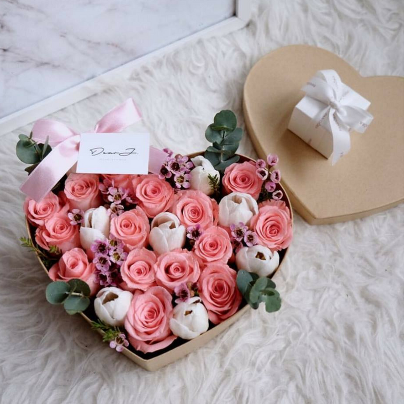 Sweet Roses with Tulips Flower Box
