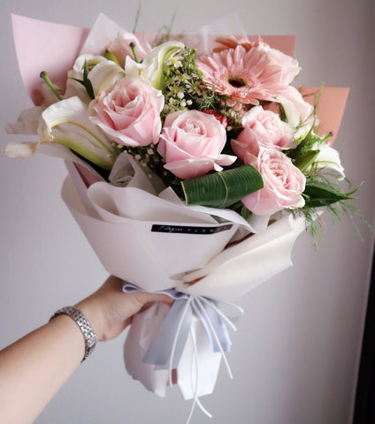 Pink Roses with Gerbera & Lily Bouquet