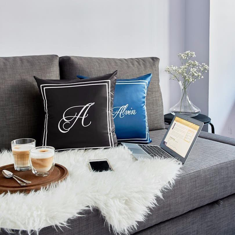 Black SCRIPT Alphabet Cushion by ATD (Pre-order 7 to 14 working days)