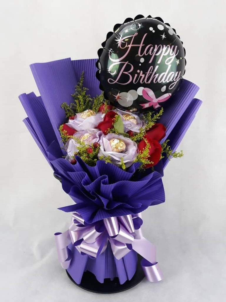 Purple Birthday Ferrero & Roses Bouquet