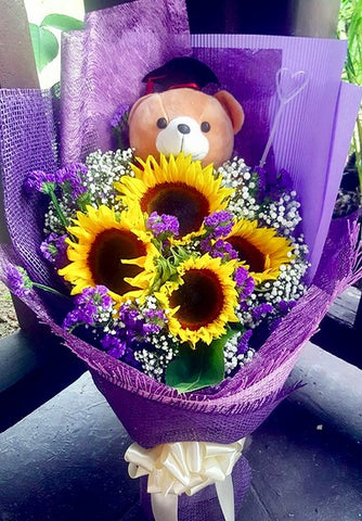 Purple Themed Sunflowers Graduation Bouquet