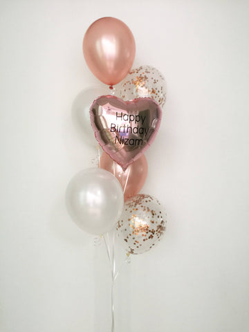 Rose Gold Metallic Heart Bouquet