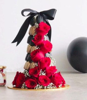Gold & Black Floral Madeleine Tower
