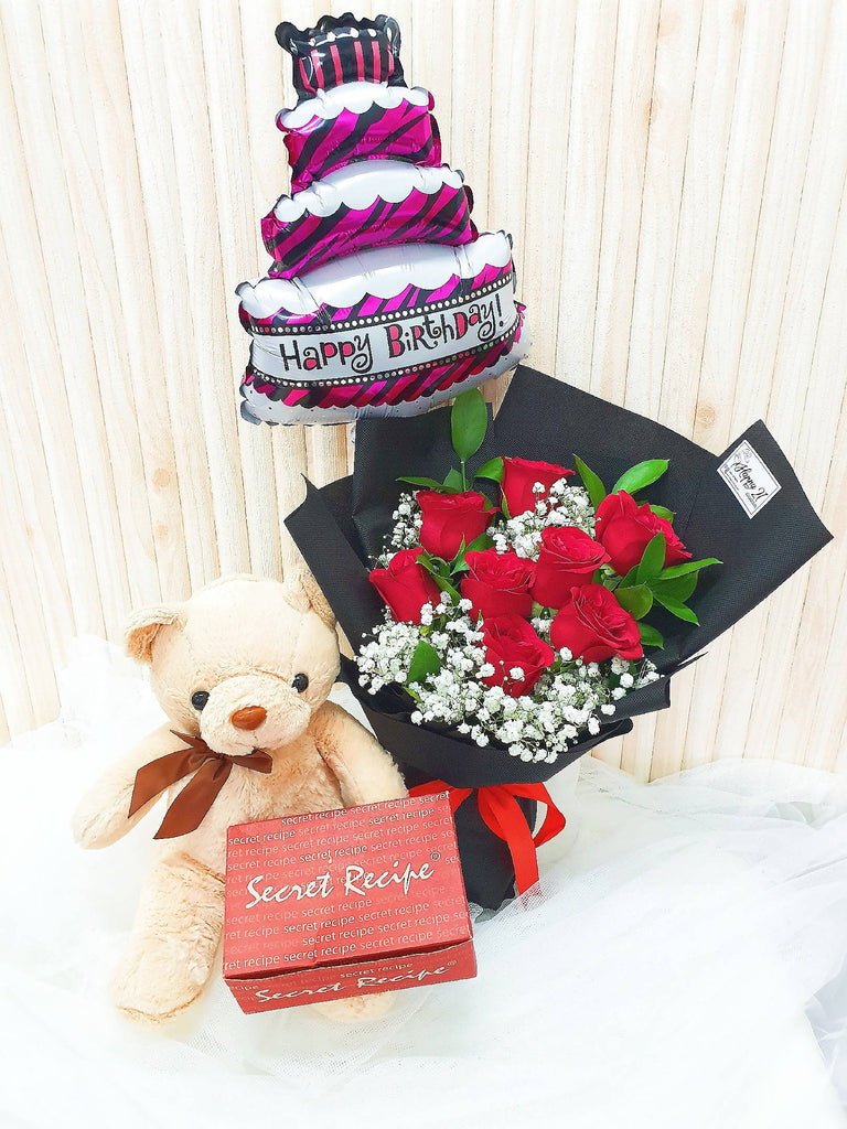 Roses Bouquet With Teddy Bear & Cake