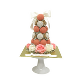 Classy Floral Croquembouche Tower (Black / Red / Pink)