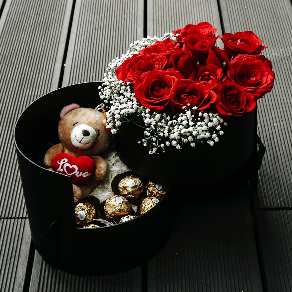 Passion (Red Roses with Baby Breath with Ferrero Rocher & Teddy Bear ...