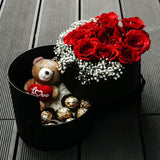 Passion (Red Roses with Baby Breath with Ferrero Rocher & Teddy Bear)