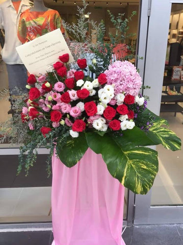 Pink & Red Grand Opening Flower Stand