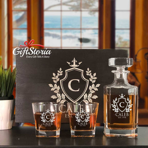 Personalized Whiskey Decanter Set (Design 7)