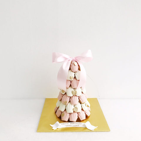 Pink & White Madeleine Tower with Mini Gold Heart