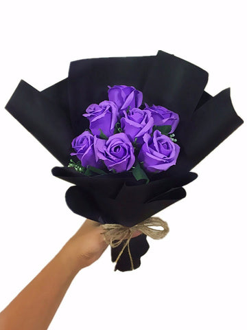 Purple Soap Rose Flower Bouquet