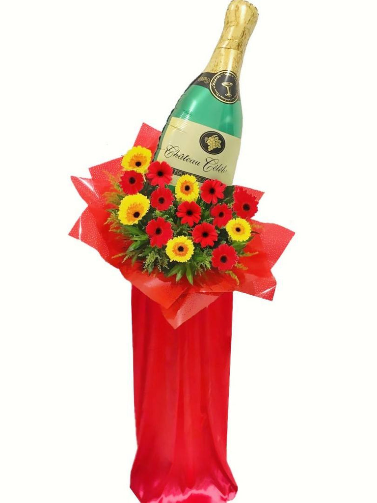 Gerbera with Champagne Balloon Grand Opening Flower Stand