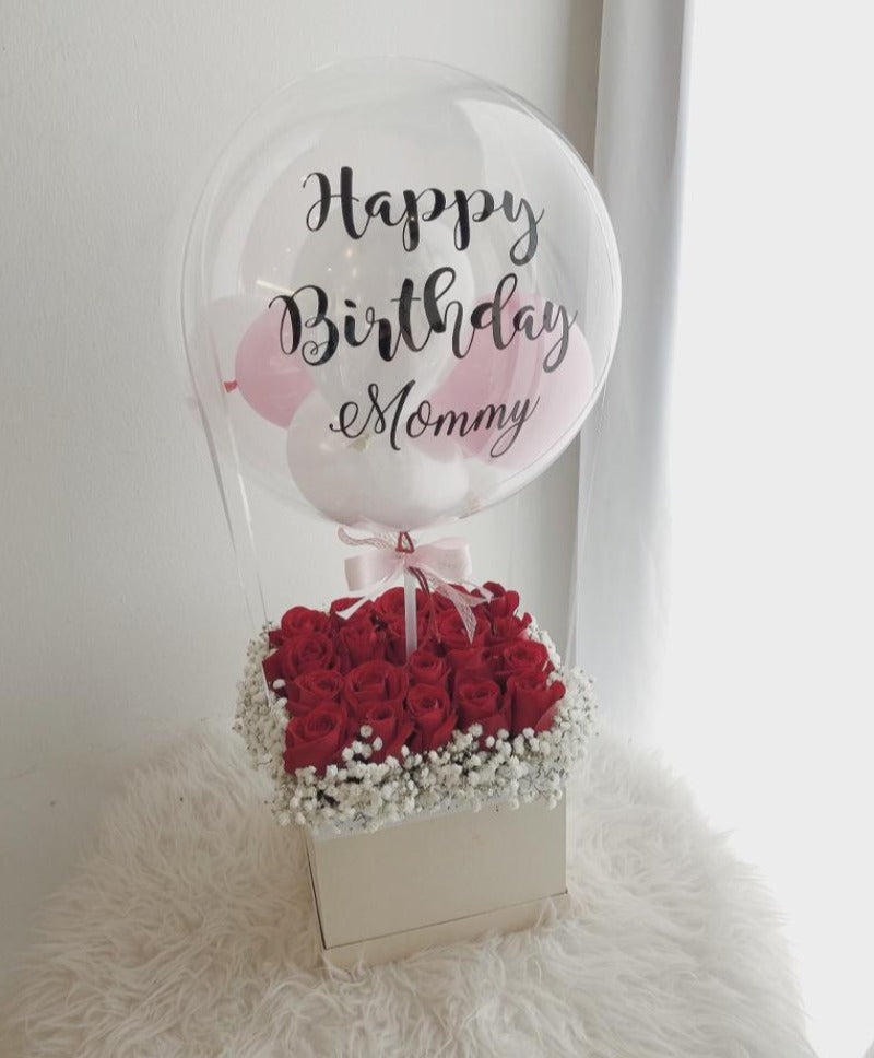 Red Roses Flower Box with Hot Air Balloon