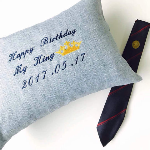 Personalised Linen Pillow (Carolina Blue)