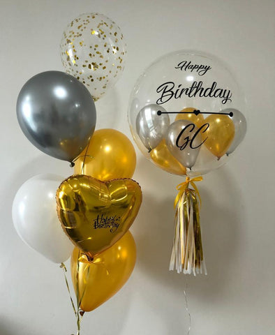 Personalised Bubble Balloon Set with Foil Balloon and 6 Helium Balloons