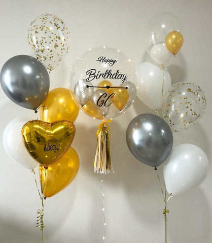 Personalised Bubble Balloon Set with Foil Balloon and 10 Helium Balloons