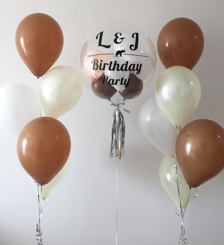 Personalised Bubble Balloon Set with Helium Balloons