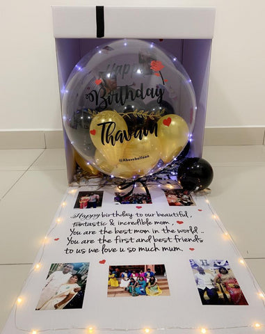 LED Balloons Surprise Box With Photo and Wordings Inside and Outside Box