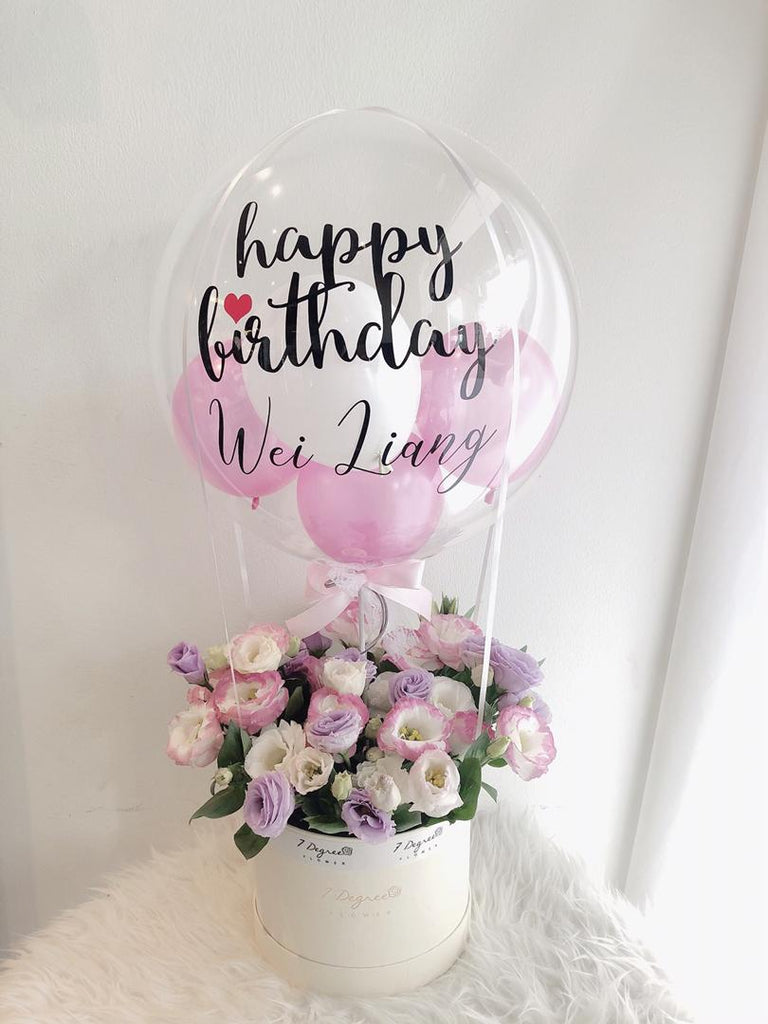 Eustoma Flower Box with Hot Air Balloon