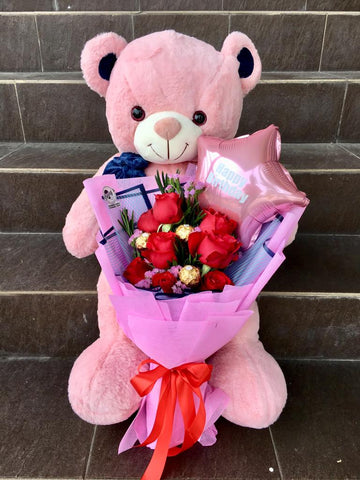 Teddy Bear with Bouquet 1 (Penang Delivery only)