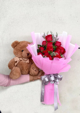 Teddy Bear With Flower Bouquet 2 (Penang Delivery only)