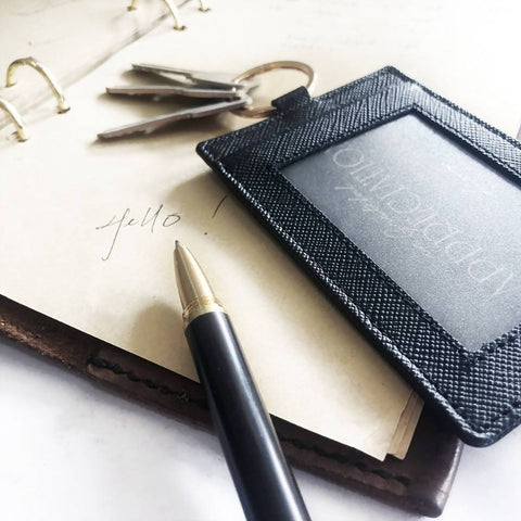 Corporate Set - Leather Multipurpose Access Card Holder + Wooden Pen