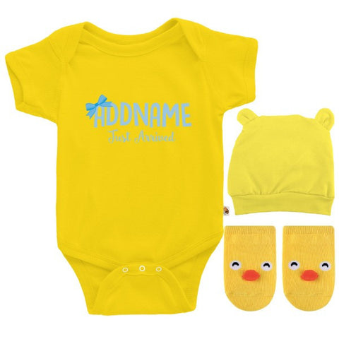 TeezBee Just Arrived Baby Boy - Baby Blue Text Gift Sets