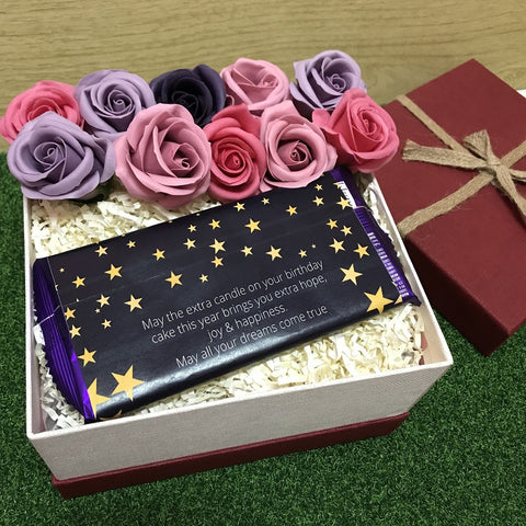 Birthday Gift Box with 9 Scented Soap Roses (3-5 Working Days)
