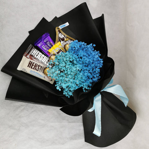 Chocolate Flower Bouquet 28 - Blue Baby Breath Bouquet