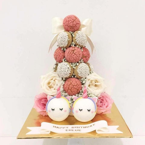 Floral Unicorn Croquembouche Tower