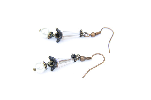 Tulip and Pearl Hair Stick & Earring Set