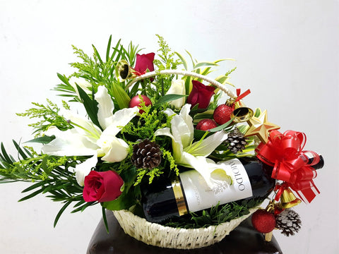 Christmas Flower Basket with Wine