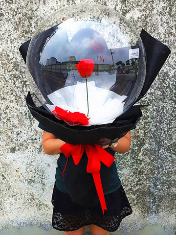 (Self Pick-up Only at Sg. Besi, KL on 14 Feb) Soap Rose with Balloon Bouquet (Valentine's Day 2020)