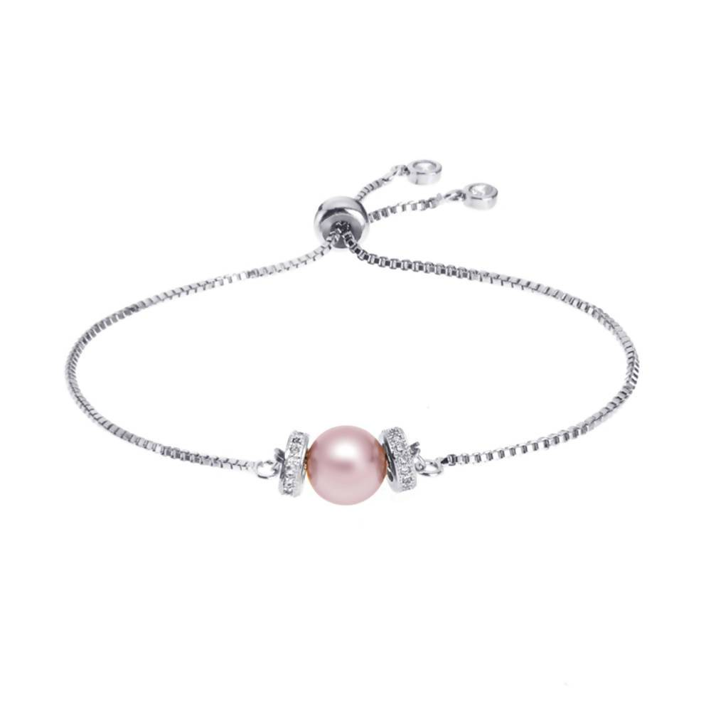 Angie Jewels Luna Swarovski Crystal Pearl Adjustable Bracelet